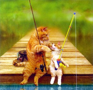「何が釣れるかにゃ?」